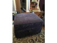Three piece suite (2 seater sofa bed, chair and storage footstool).