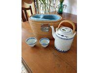 Vintage Chinese tea set in wicker basket - Edinburgh