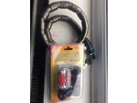 Bike lock and front light and rear lights with batteries brand new