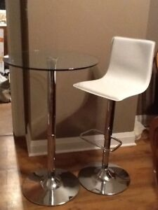 High Top Glass Table and Faux White Leather Stool