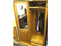 Mirrored solid pine wardrobe for sale