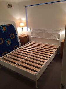 White metal queen bed frame Milsons Point North Sydney Area Preview