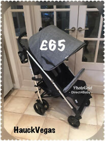 EXDISPLAY UNUSED HAUCK VEGAS UMBRELLA FOLDING GREY BLACK UNISEX STROLER EXTENING HOOD FROM BIRTH £65