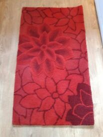 """100% wool floor rugs, red flower pattern, 2 available, 3ft8"""" x 2ft2""""/112x63cm"""