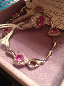 Pink sapphire lab created beautiful brand new bracelet $85