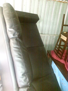 Black 3 seater leather look lounge. Andrews Farm Playford Area Preview