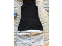 Grey denim skirt and top