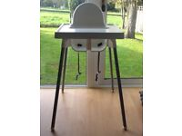 High chair IKEA Antilop White with tray and support cushion