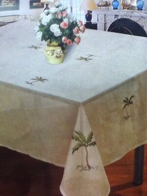 - 6 Chairs Rectangular 60X84 Palm Tree Tablecloth Cover Kitchen Dininn Living Room