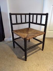 Antique Arts and Crafts Bobbin Turned Corner Chair with Rush Seat.