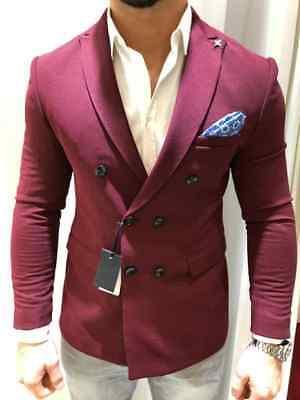 Designer Bordeaux Zweireiher Doppelreiher Sakko Blazer Jacke Tailliert Slim Fit