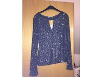 Sequin evening top, size 12 and never worn before