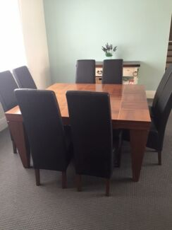Berkowitz 8 Seater Leather Dining Setting Geelong 3220 Geelong City Preview