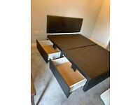 New Double Divan Bed Base with Headboard & Storage Drawers !