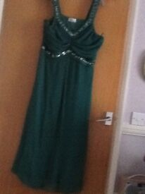 Ladies emerald green beaded evening dress full length voile and lined by Klass beading straps bodice