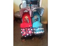 cosatto twin boy/girl pushchair