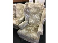 Wing back sofa and chairs can deliver