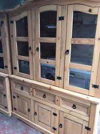 STUNNING TALL TRIPLE GLASS FRONTED MEXICAN PINE DRESSER.
