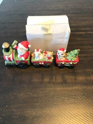Vintage Homco Christmas Santa Animal Racoon Ceramic Train Set Decor 5701 3 Piece