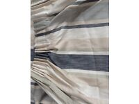 Laura Ashley Awning Stripe Charcoal Curtains one pair floor length