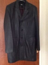 Leather 3/4 length Hugo Boss Coat Black Very Good Condition