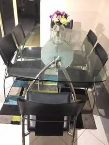 Classy glass table + six black chairs in excellent condition Balcatta Stirling Area Preview