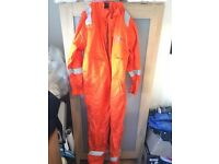 Large Coverall FR Overall Welders Boilersuit Fire Resistant Shock Proof Safety orange jacket trouser