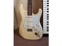 Retro 80's Roland synth and Hohner stratocaster guitar..SWAP