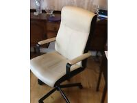 Cream coloured leather type material desk chair. £30