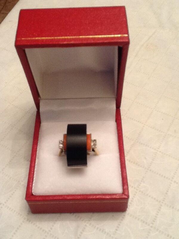 14k Vintage Art Deco Ring Black Onyx Coral Diamond Estate
