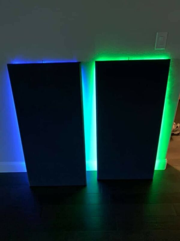 2 Wireless LED Acoustic Sound Absorbing Panels 4ft Length 18inch wide Black