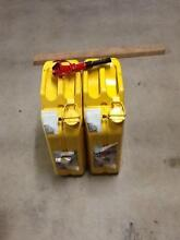 Bushmans yellow diesel steel Jerry cans x2 with pouring spout Trinity Park Cairns Area Preview