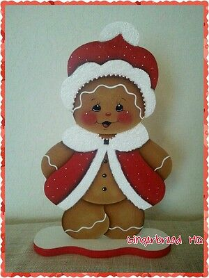 HP Hand Painted Standing Gingerbread Girl Figurine, Red,  Christmas woodcraft