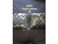 2 x NEW crushed velvet purple cushions