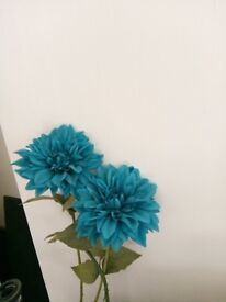 2 Extra Large Teal Flowers