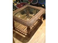 Glass and wicker coffee table