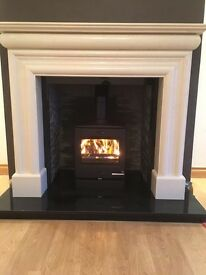 BANKRUPT STOCK !!! LARGE FIREPLACE MARBLE SURROUND OPEN FIRE STOVE GAS FIRE OR OIL FIRE MULTI FUEL