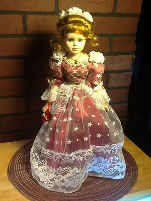 "Vintage 17"" Porcelain Doll - Red Dress Victorian Style"
