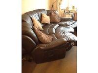 dfs Brown Leather Cinema Sofa & Storage Footstall