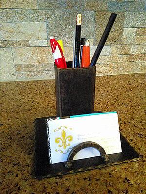 Desktop Business Card Holder Pencil Pen Organizer Office Boss Gift Iron