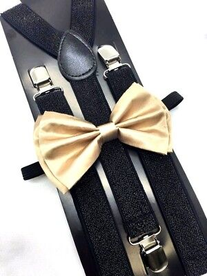 New Champagne Gold Bow Tie and Black Suspender set Tuxedo Formal Men  USA SELLER - Gold Suspenders And Bowtie