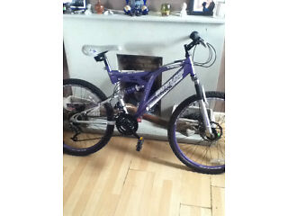 purple 16 inch suspension bike