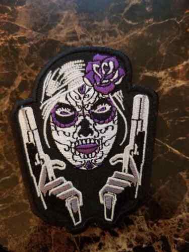 "Sugar Skull Purple Rose 3 x 3.5"" matching pistols Biker Patch"