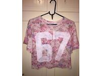 Size 8 pink floral crop top/tshirt