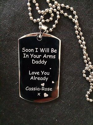 Daddy To Be Engraved Dog Tag With Scan Photo, Text & Chain - congratulations