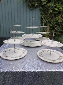 set of 5 cake stands vintage tea/ wedding/ afternoon tea 3 x 3 tier and 2 x 2 tier cake stands