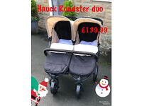 Exdisplay Hauck roadster duo side by side unisex neutral double buggy Pram pushchair with cosytoes
