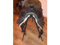 black leather western saddle