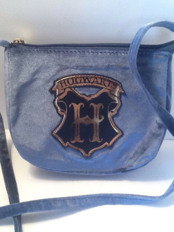 Harry Potter Blue Velvet Crossbody Purse with Hogwarts Crest Bag Pre Owned