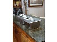 Three Large Baine Marie pans